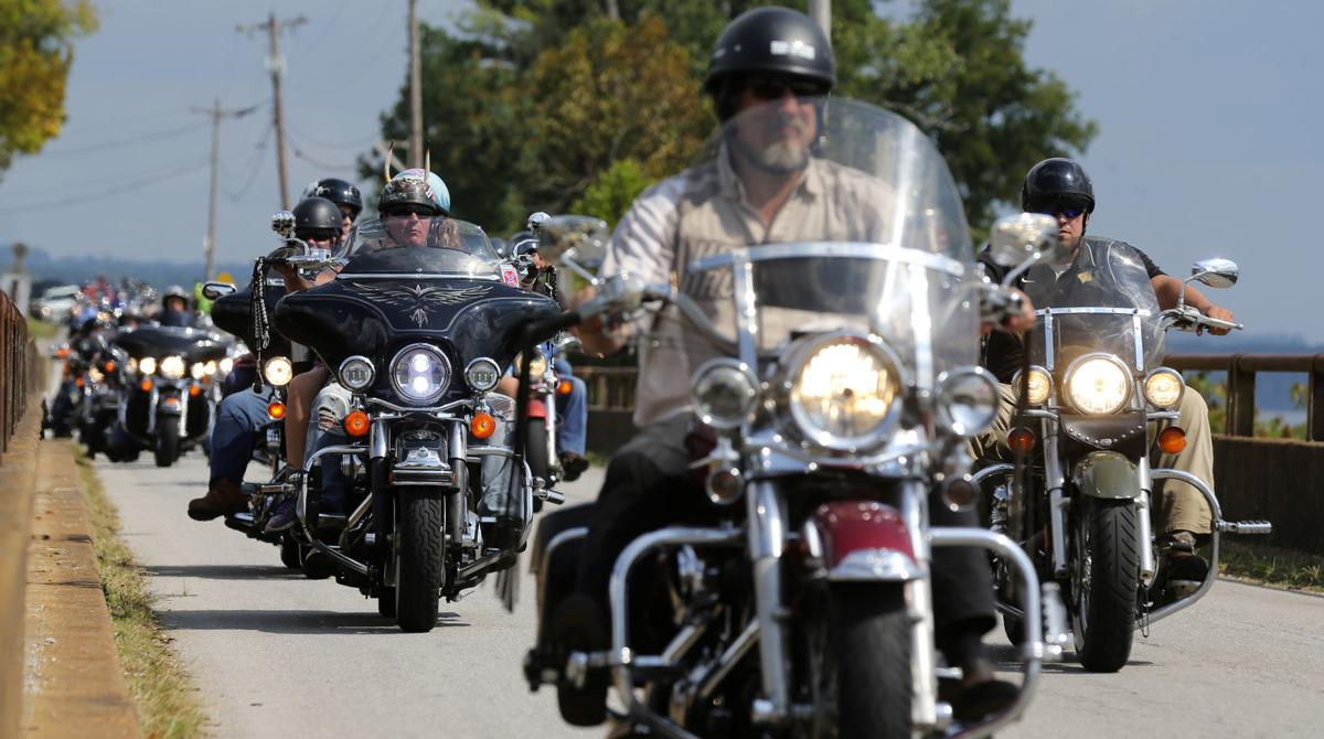 An image of several motorcycles who are participating in the Trail Of Tears.