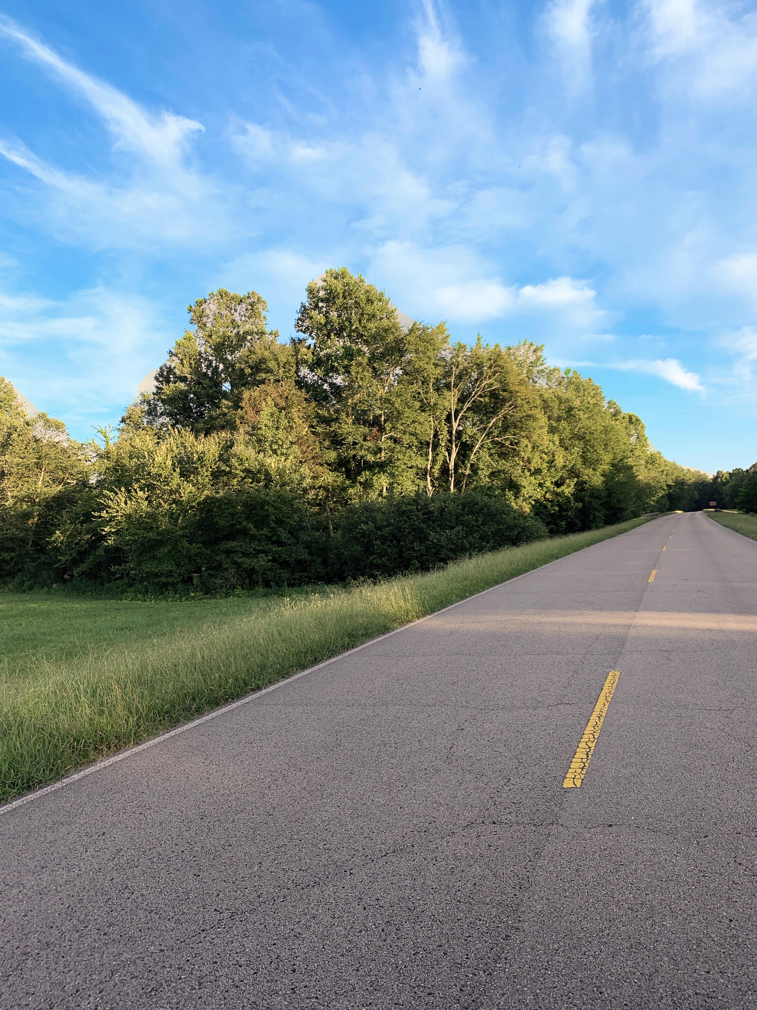 An image outside featuring a blue sky, two lane road, and green grass.