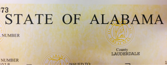The top of a business license that says State of Alabama.