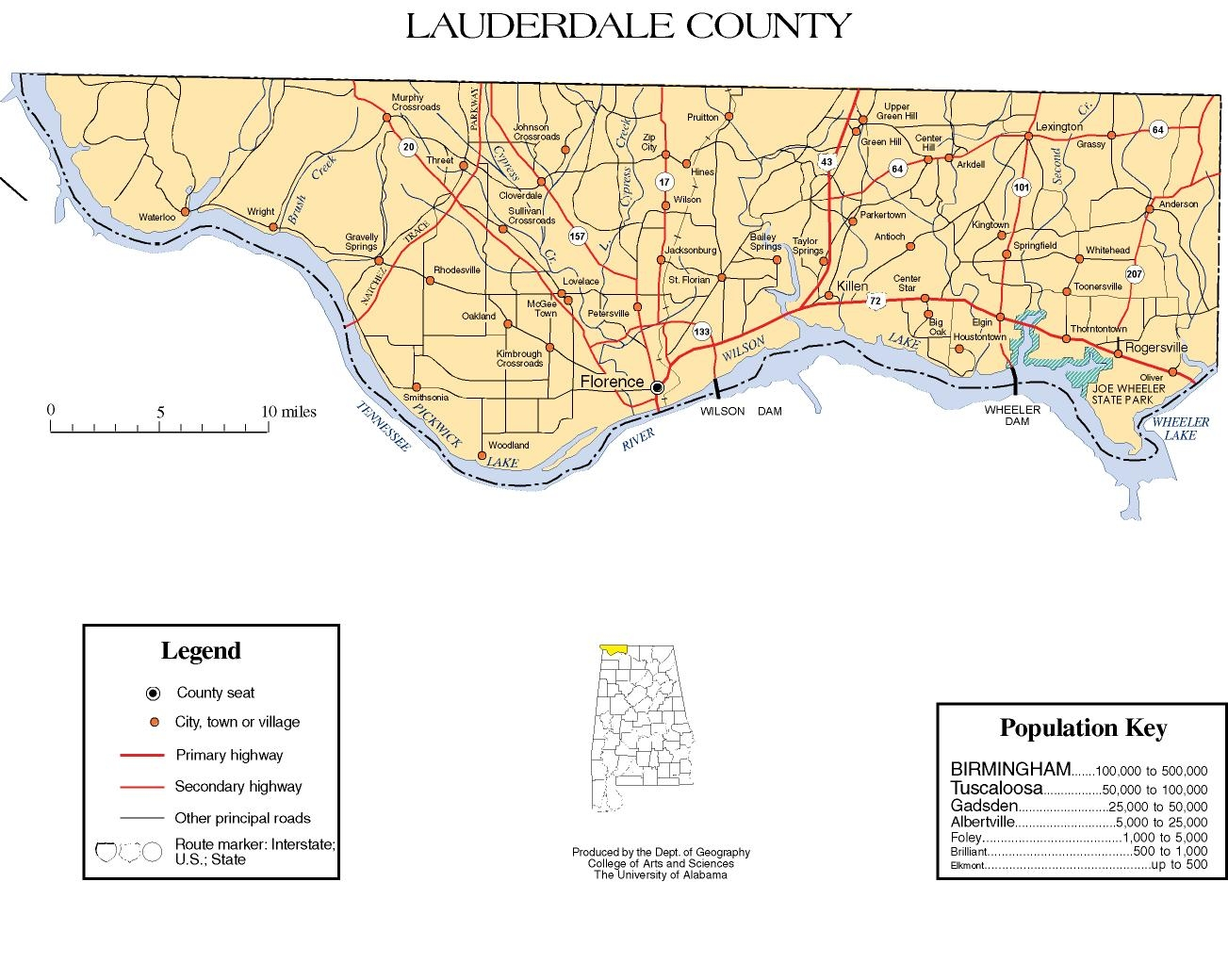 A map of Lauderdale County, Alabama.