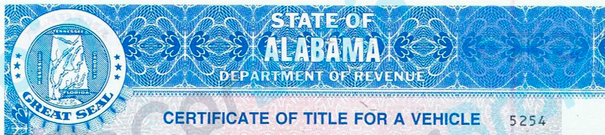 A vehicle title for the State of Alabama.