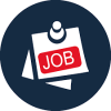Small blue, red, and white image that says Job